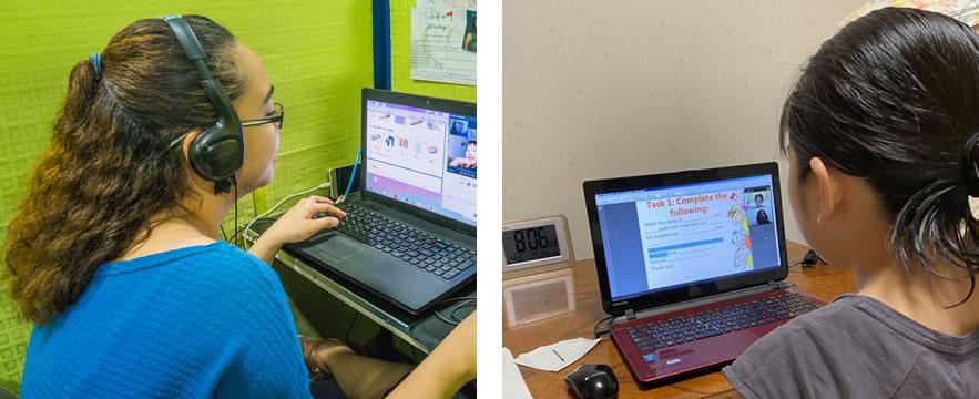 オンライン授業中の小学生